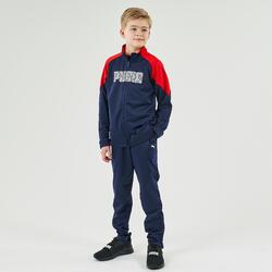 Fato de treino ginástica rapaz azul-marinho e vermelho estampado
