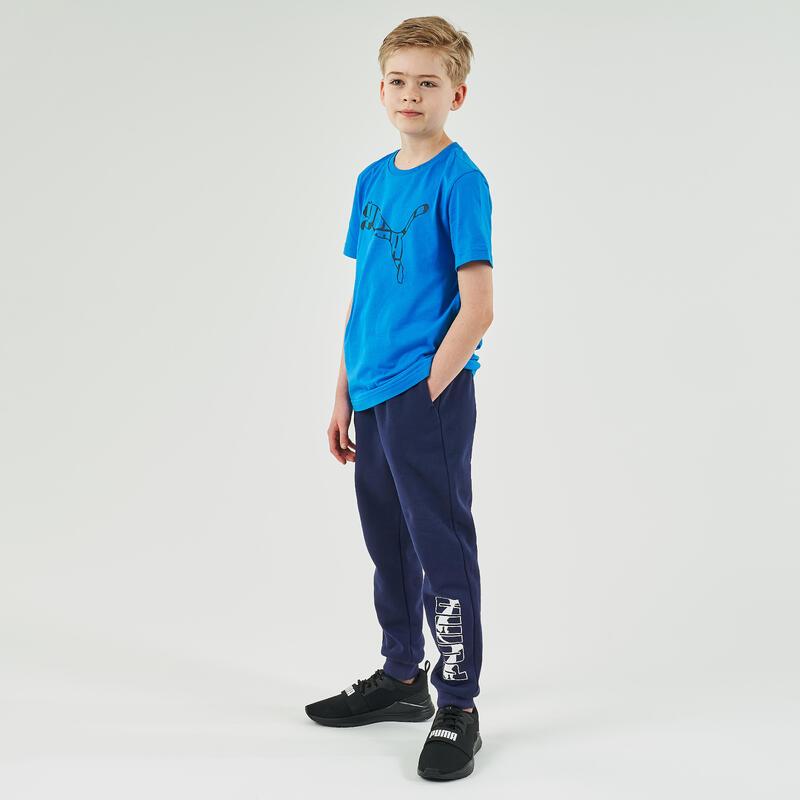 Pantalon de trening educație fizică cu logo bleumarin cu imprimeu băieți