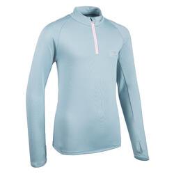 Camisola Quente Meio-Fecho Atletismo Criança AT 100 Cinzento/Rosa