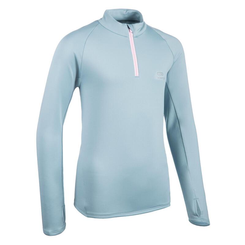 Warm atletiekshirt met lange mouwen voor kinderen AT 100 1/2 rits grijs/roze