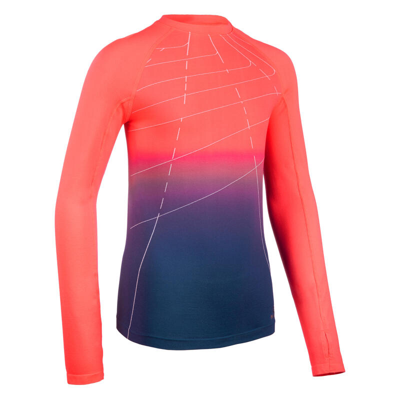 AT 500 Skincare Girls' Athletics Long-Sleeved Jersey - neon pink blue