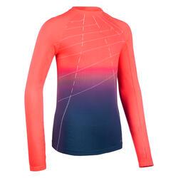 Camisola de Atletismo Menina AT 500 Skincare Rosa Néon/Azul