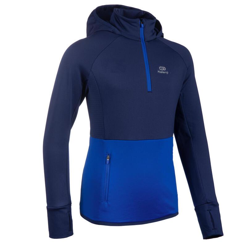Camiseta Atletismo AT 500 Niños Azul Intenso Manga Larga Tiempo Frío