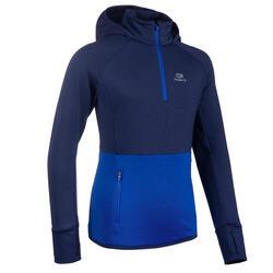 Atletiekshirt met lange mouwen voor kinderen AT 500 koud weer helder blauw