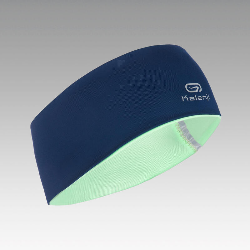 Bandeau enfant hiver réversible d'athlétisme bleu marine et vert clair