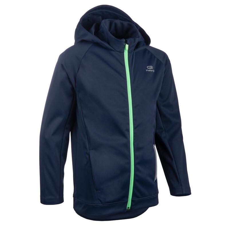 Jachetă Călduroasă Alergare AT500 Bleumarin-Verde Copii