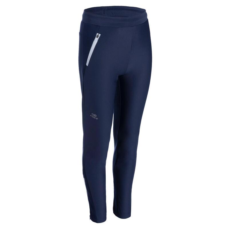 Pantalon enfant d'athlétisme pour temps froid AT 500 bleu marine gris