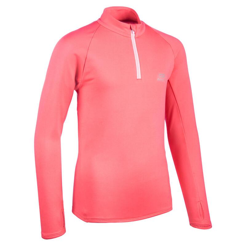 Warm atletiekshirt met lange mouwen voor kinderen AT 100 1/2 rits roze