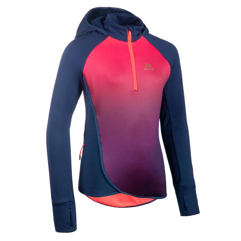 Camiseta Atletismo AT 500 Niña Rosa Degradado Manga Larga Tiempo Frío