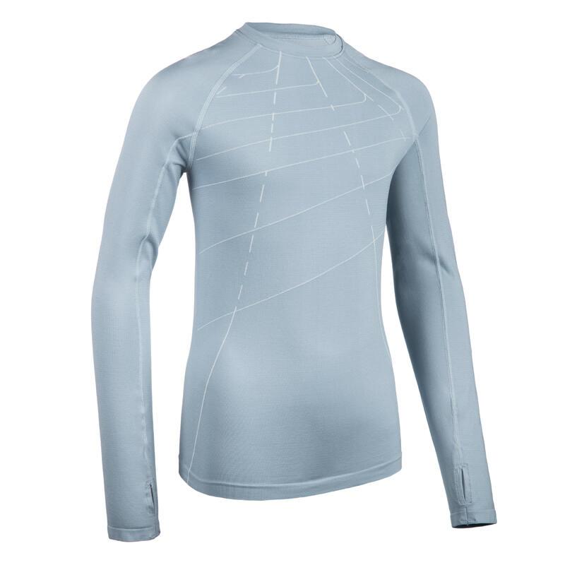 Hardloopshirt met lange mouwen voor kinderen AT 500 Skincare blauwgrijs