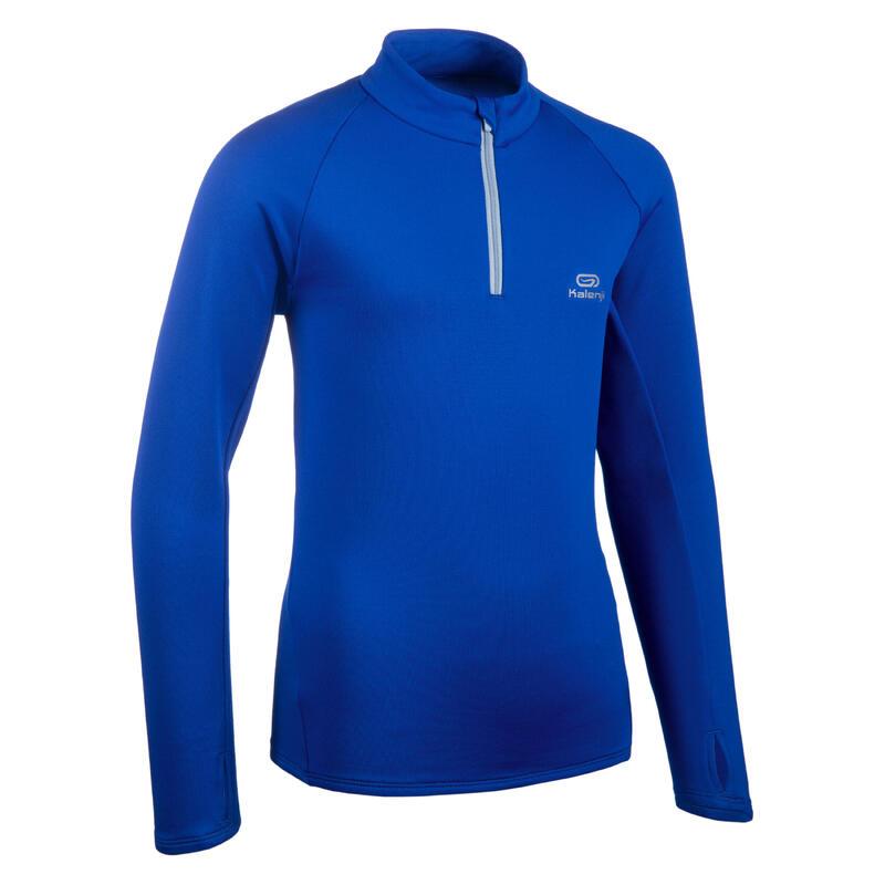 Maillot manches longues chaud 1/2 zip enfant d'athlétisme AT 100 bleu electrique