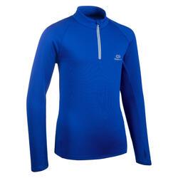 Camisola Quente Meio-Fecho Atletismo Criança AT 100 Azul Elétrico