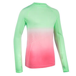 Camisola de Atletismo Menina AT 500 Skincare Verde/Rosa