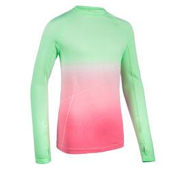 Maglia manica lunga atletica bambina AT 500 SKINCARE verde-rosa