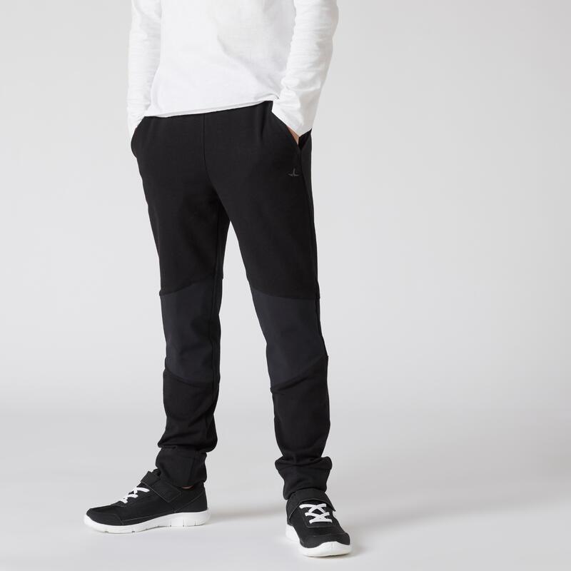 Pantalon de jogging enfant coton léger slim - 500 noir
