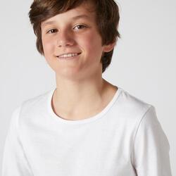 T-shirt manches longues enfant coton - Basique blanc