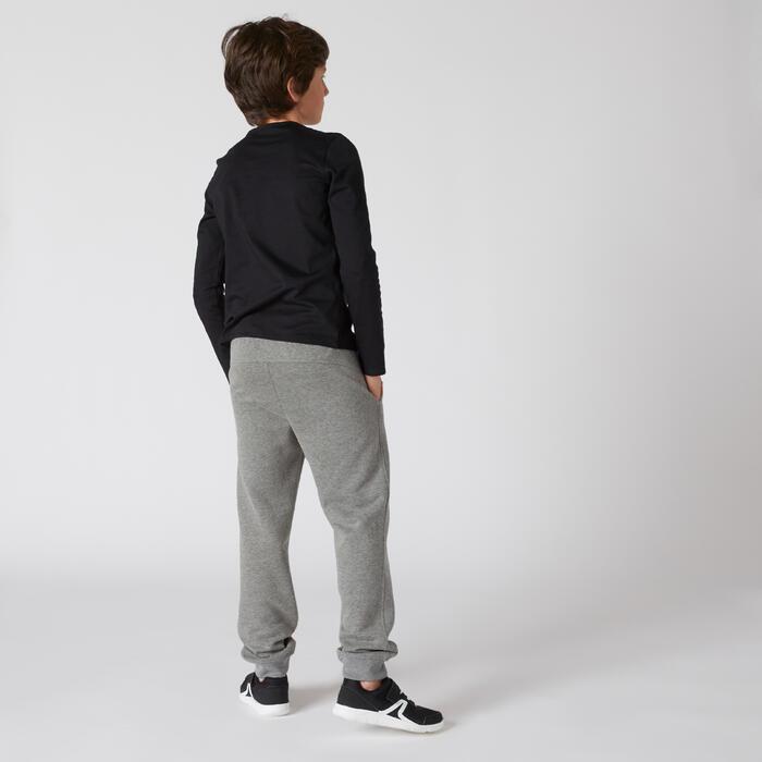 Langarmshirt 100 Basic Gym Kinder schwarz