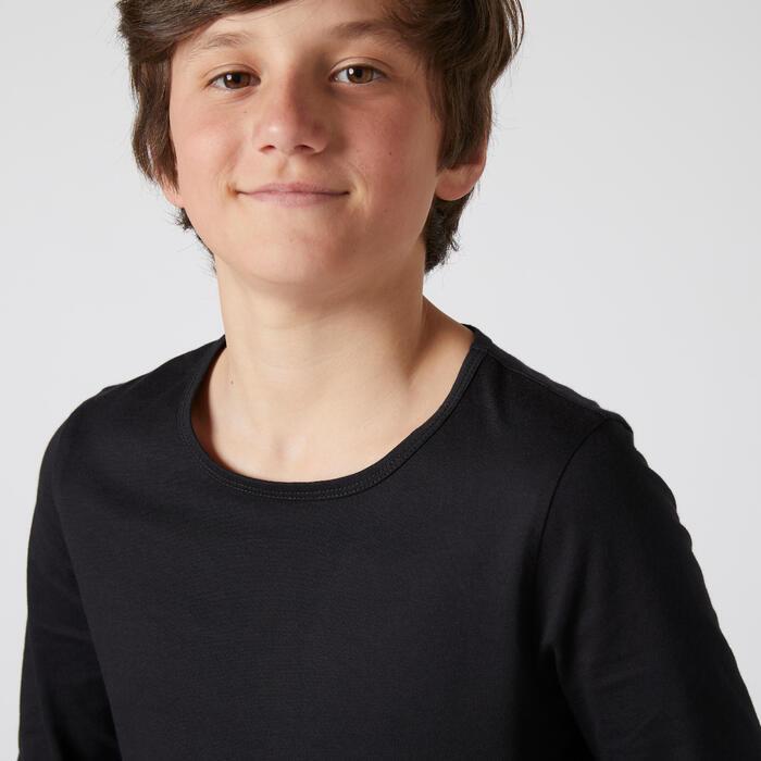 T-shirt manches longues enfant coton - Basique noir