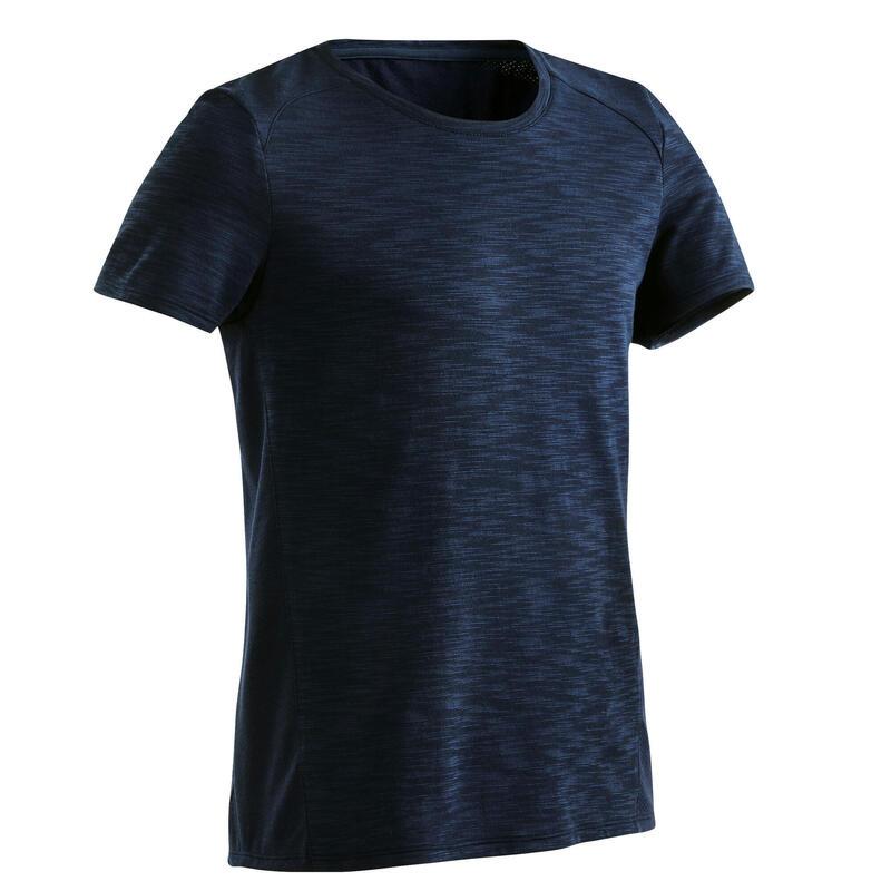 T-shirt voor kinderen ademend katoen marineblauw