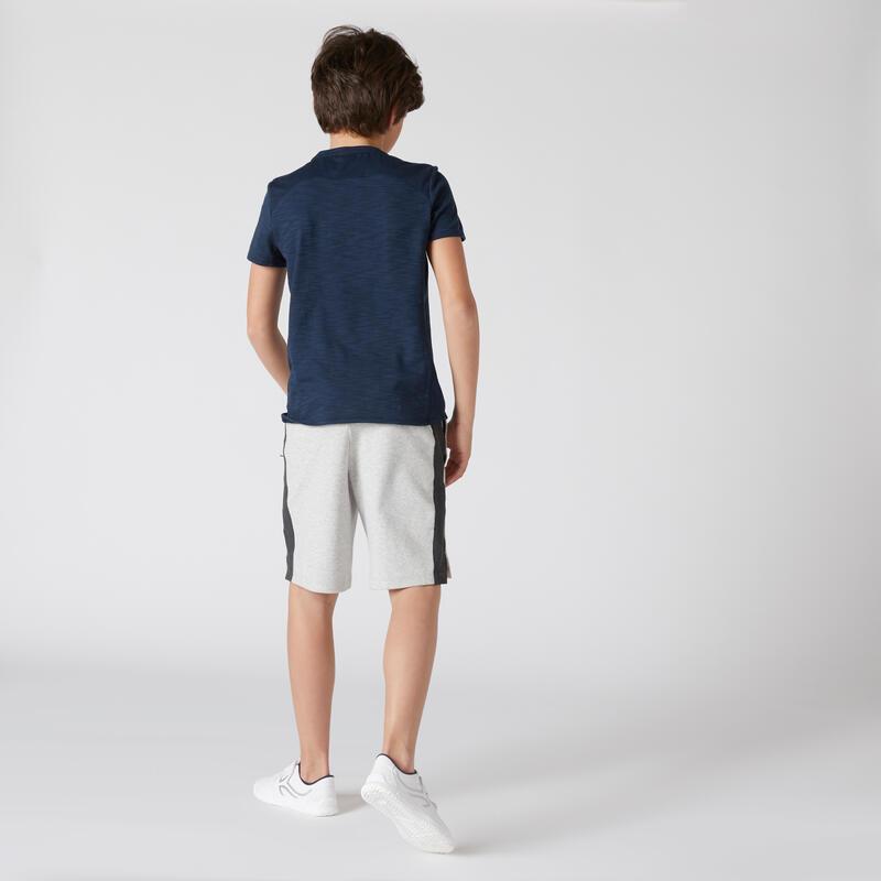 กางเกงขาสั้นเด็กชายเนื้อผ้าฝ้ายระบายอากาศได้ดีพร้อมช่องซิปสำหรับกายบริหารรุ่น 500 (สีเทาอ่อน Marl)
