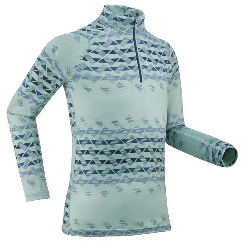 Sous-vêtement de ski enfant 500 1/2 zip haut vert