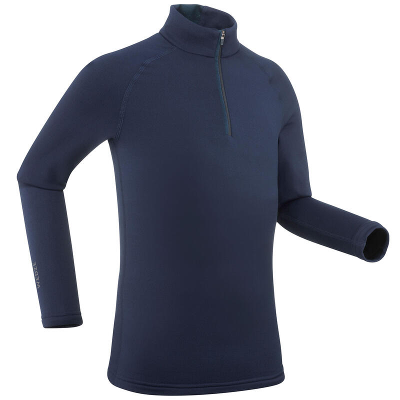 Sous-vêtement de ski enfant 500 1/2 zip haut bleu