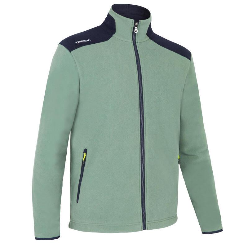 Warme fleece voor zeilen heren Sailing 100 ecodesigned kaki marineblauw