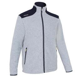 男款節能設計保暖刷毛航海外套100-大地灰/深藍