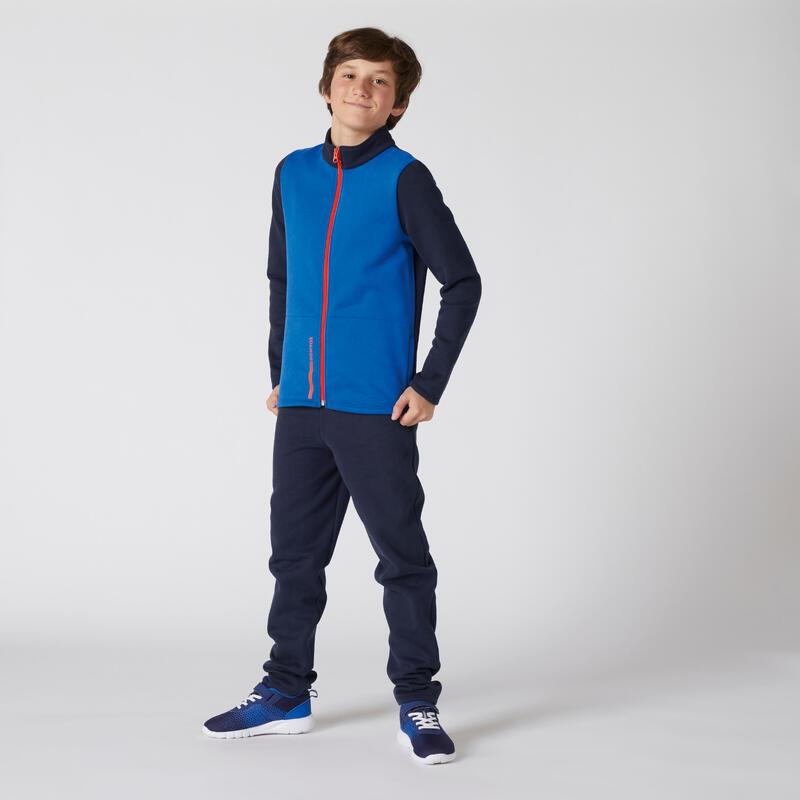 Survêtement enfant molleton - Warmy zip Basique bleu