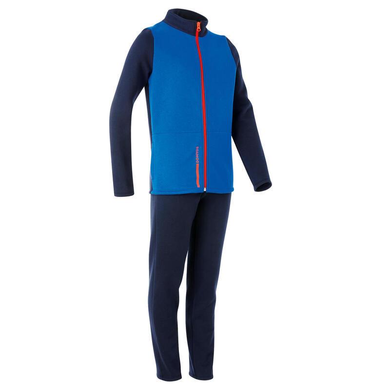 Basic warm trainingspak voor kinderen Warmy met rits blauw