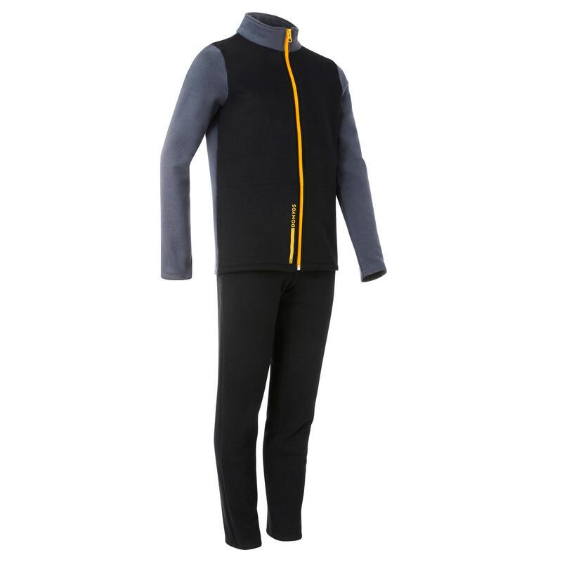 Survêtement basique chaud Warmy zip noir enfant