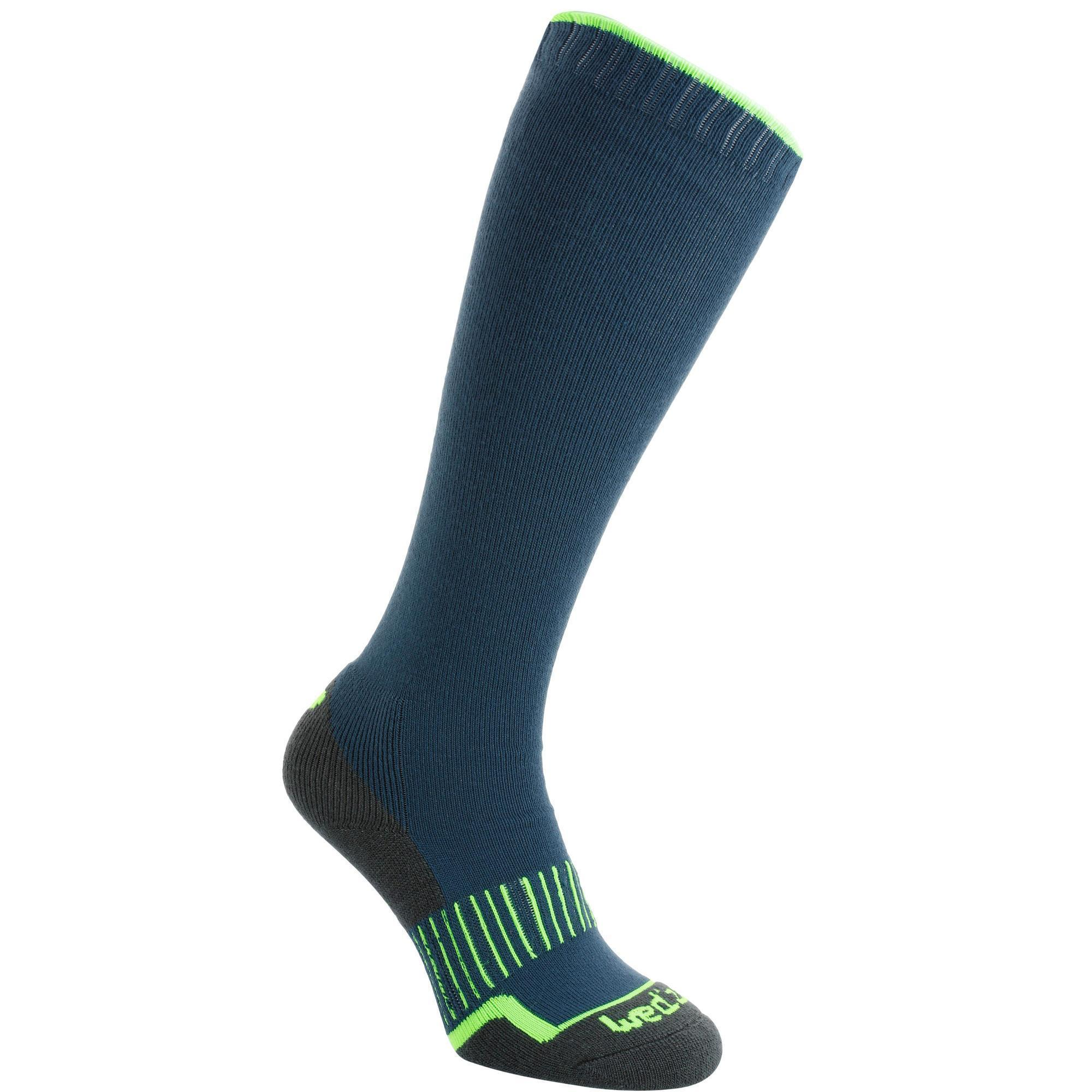 chaussette de ski warm 100 bleu vert fluo wedze. Black Bedroom Furniture Sets. Home Design Ideas