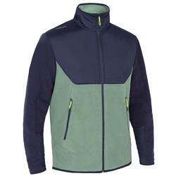 男款保暖航海刷毛外套500-淺卡其/藍色