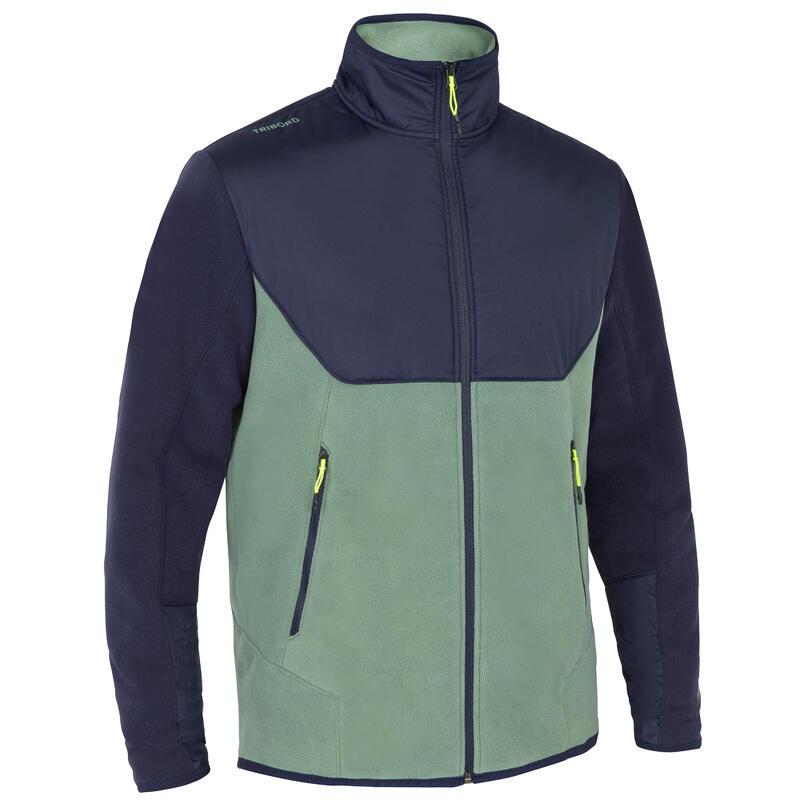 Men's warm SAILING fleece 500 - Light khaki, blue