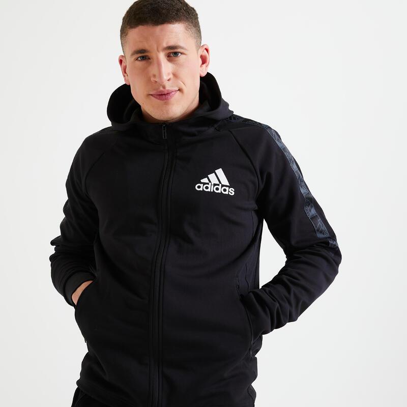 Felpa con cappuccio uomo Adidas nera
