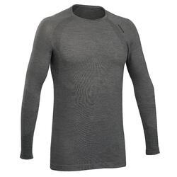 Naadloos shirt voor klimmen heren lange mouwen wol