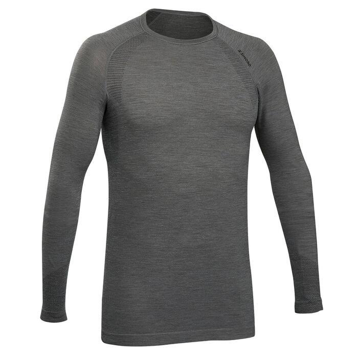 T-Shirt langarm Seamless Wolle Bergsteigen Herren