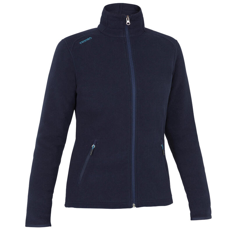 Warme fleece voor zeilen dames Sailing 100 ecodesigned marineblauw