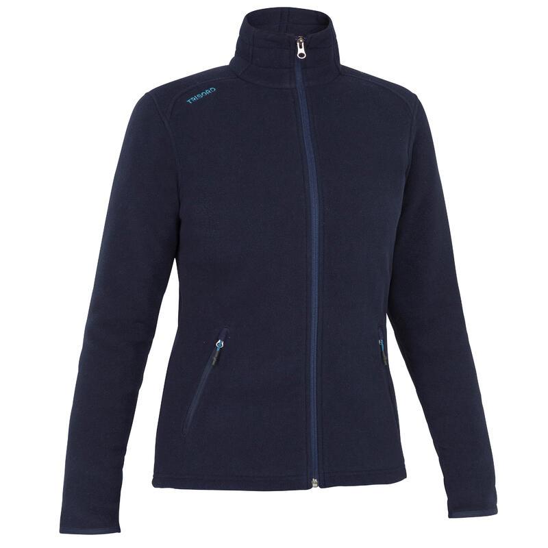 Women warm eco-design fleece sailing jacket 100 - Navy blue