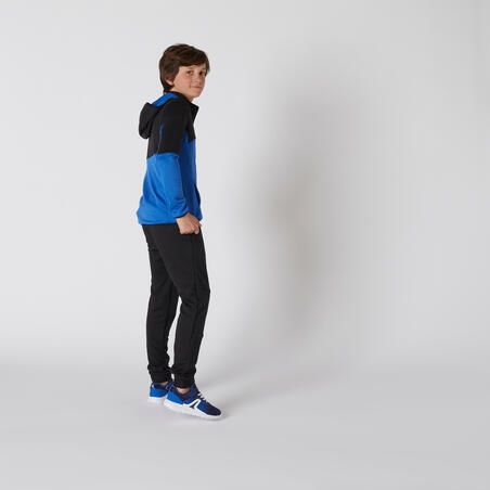 חליפת טרנינג סינתטית ומחממת להתעמלות דגם S500 לבנים - שחור / כחול