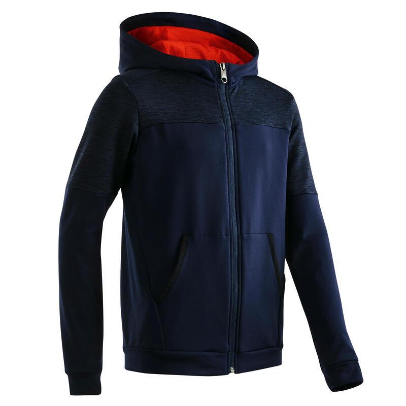 Sweat zippé à capuche respirant chaud et extensible bleu marine enfant