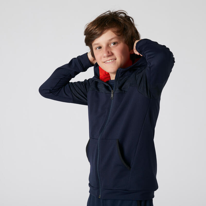 Kids' Warm Breathable Stretchy Hooded Sweatshirt - Navy Blue