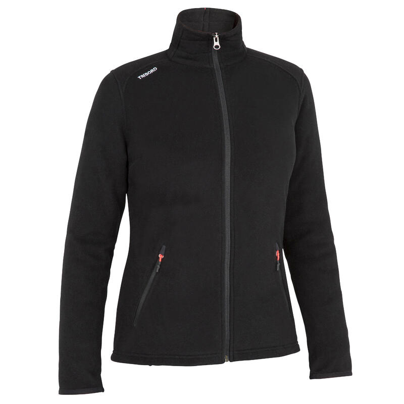 Women warm eco-design fleece sailing jacket 100 - Black