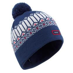 成人提花編織滑雪帽 - 藍色/白色