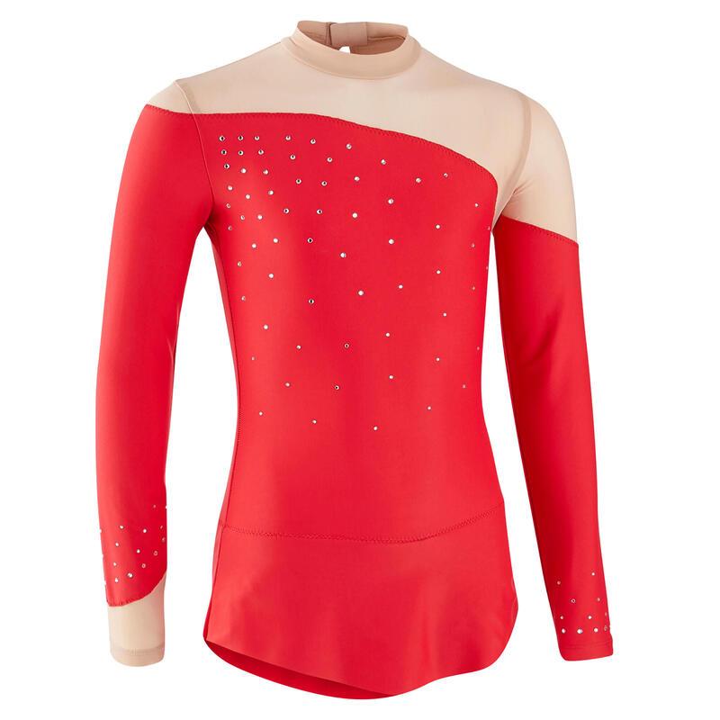 Body cu fustă și mânecă lungă Gimnastică Ritmică Roșu cu strasuri