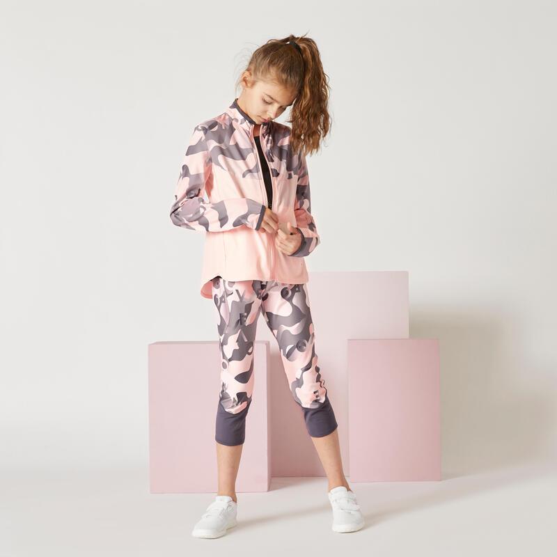 Chaqueta con cremallera ligera estampado rosa niña