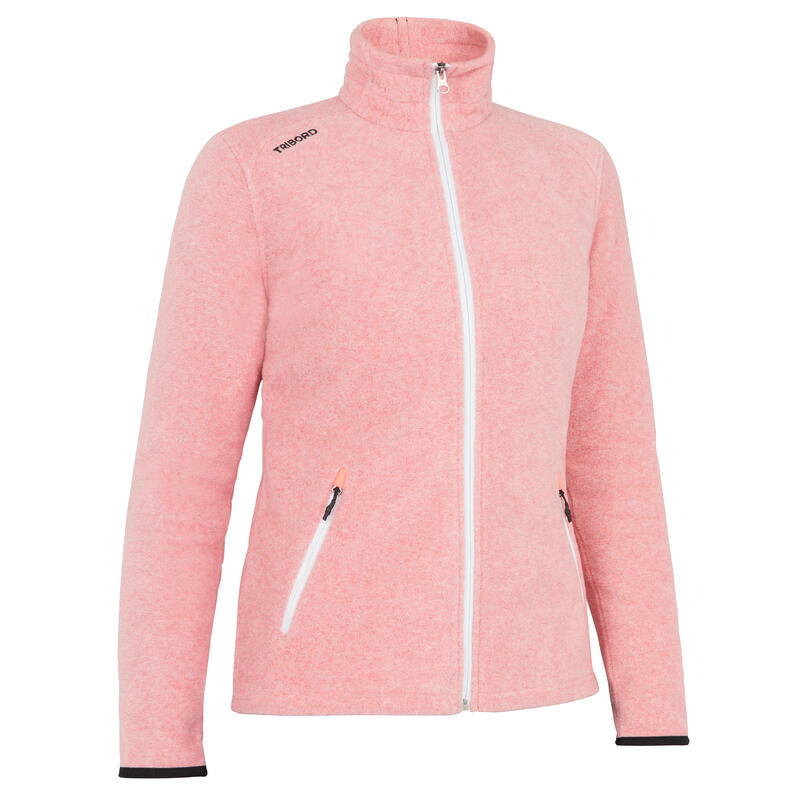 Women warm eco-design fleece sailing jacket 100 - Light rose