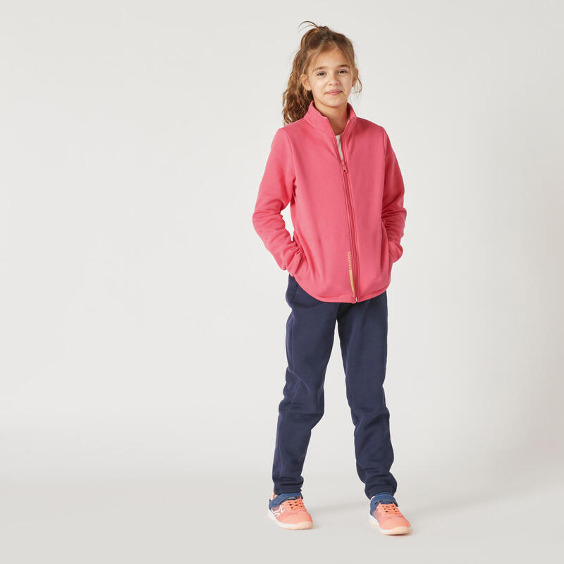 Tuta ginnastica bambina pesante WARM'Y ZIP 100 rosa-blu