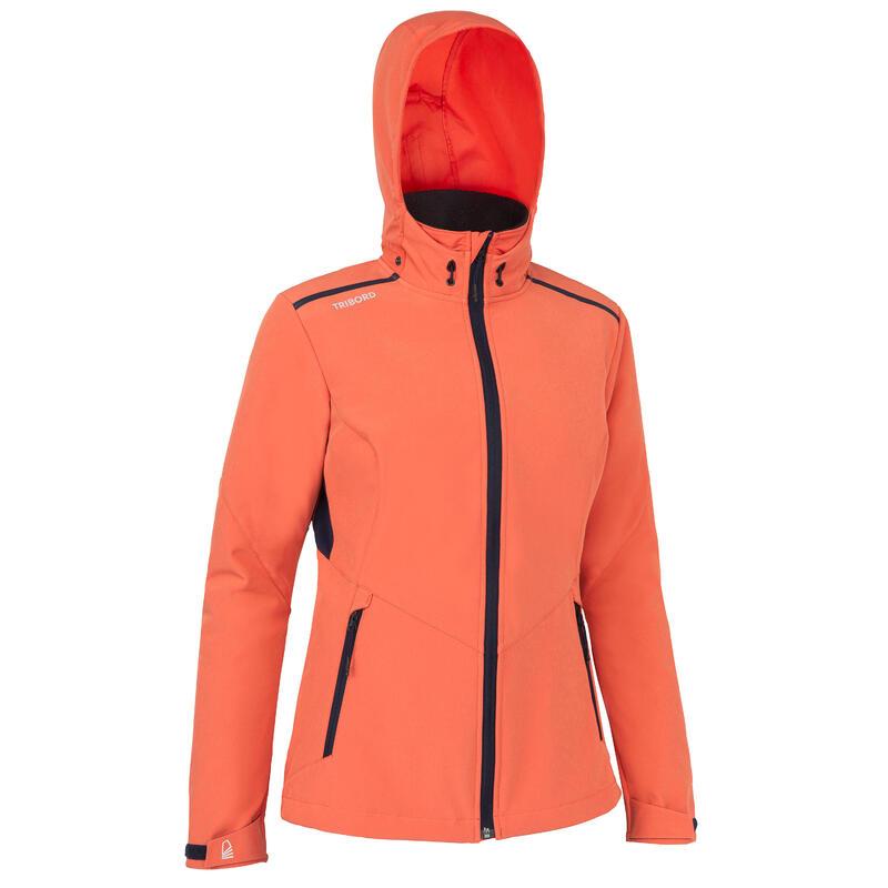 Women wind-proof softshell sailing jacket 900 - Terracota
