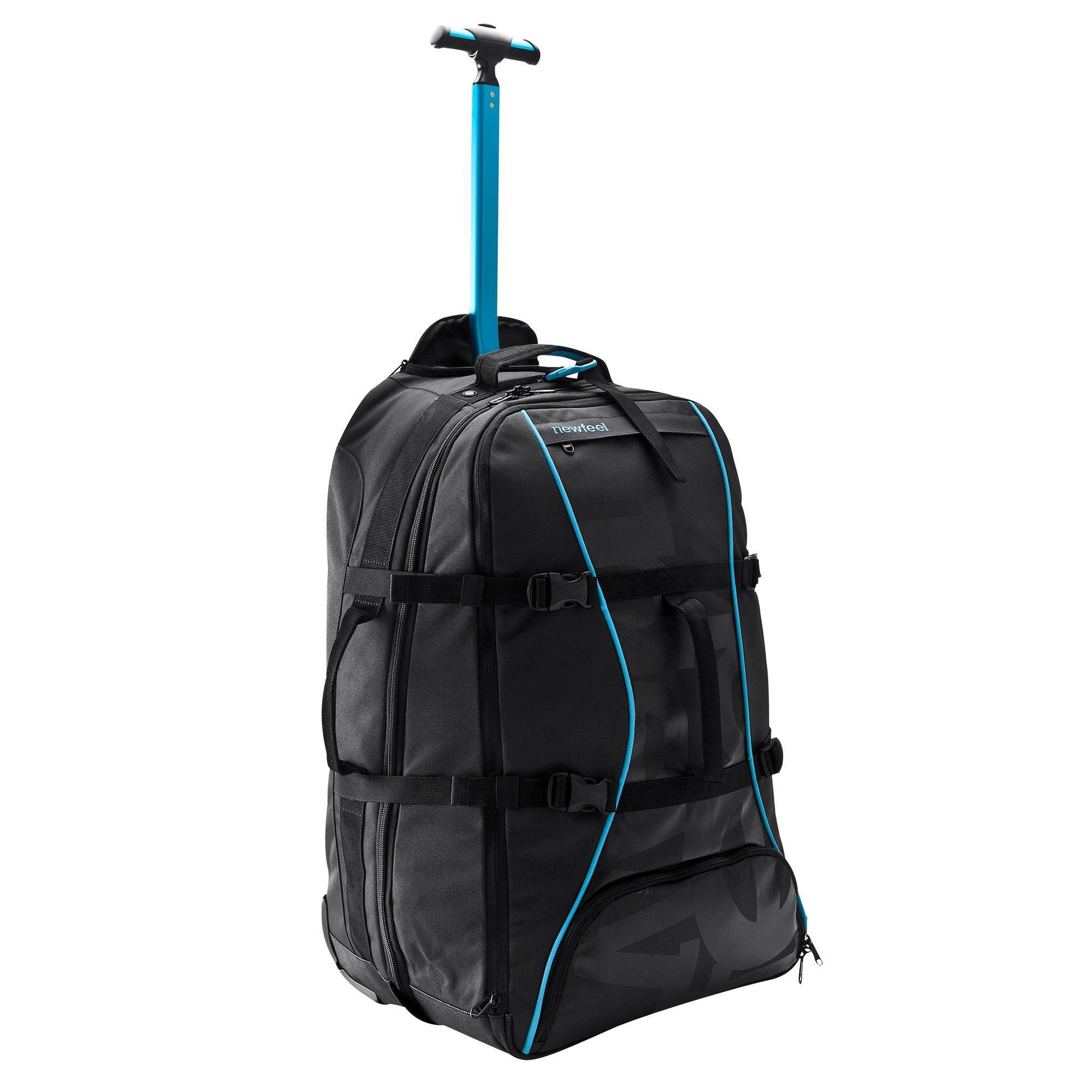 valise roulettes sac dos sport 60l noir bleu newfeel. Black Bedroom Furniture Sets. Home Design Ideas